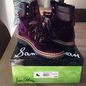 b01bd1f9d3ee40 Sam Edelman Shoes - Sam Edelman Browan Velvet Lace-Up Boots
